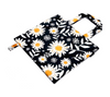 Navy, orange and white fun floral print bag