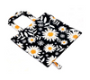 Side view daisy print grocery bag