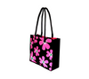Profile view of floral tote bag