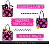 Cotton shopping bags for events, groceries, beach and travel