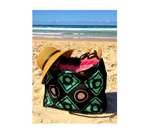 Cotton tote bags for the beach | Green, beige and black geometric print