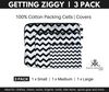 Getting Ziggy - chevron print. 3 Pack packing cells.