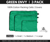 Green Envy 100% Cotton Bags. 3 Pack packing cells.