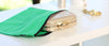 Green-cotton-bag-for-clutch-and-wristlet-protection-and-storage