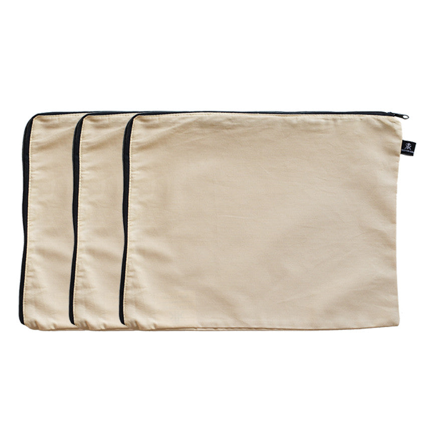 3 Pack Beige 100% Cotton Travel Packing Cells