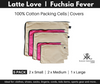 Fuchsia Pink and Latte Love packing cells and covers. 5 Pack.