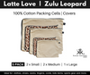 Latte Love and Zulu Leopard print packing cells for suitcases