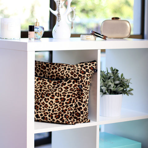 Leopard print 100% cotton dust bag