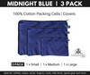 Midnight Blue 100% Cotton Covers. Packing Cells. 3 Pack.