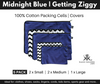 Midnight Blue and Getting Ziggy Chevron Packing Cells Covers. 5 Pack.
