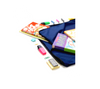 Kids stationery and books in blue cotton bag.