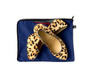 Leopard print shoes with blue shoe bag