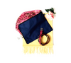 Navy blue 100% cotton scarf storage dust bag