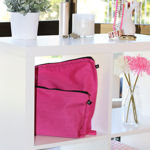 Fuchsia Pink dust bags for handbag protection and storage
