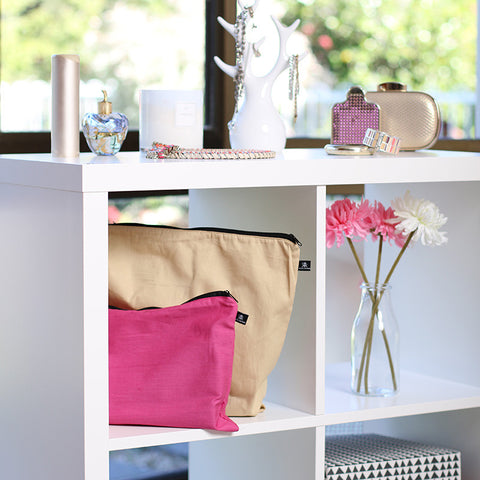 Latte Love & Fuchsia Fever with organised handbags on shelf
