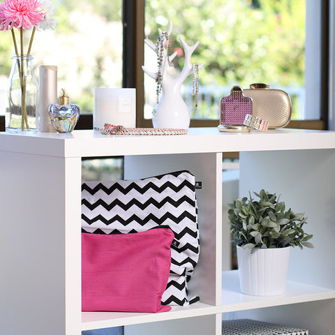 Chevron print and fuchsia pink 100% cotton dust bags for handbag protection