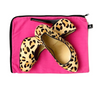 Leopard print shoes with pink shoe bag