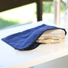 Dark blue cotton clutch and wristlet dust bag