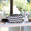 Zig Zag print (chevron) for clutches and wristlet protection and storage.