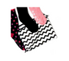 Storage bag for socks in chevron print.