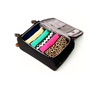 Carry on suitcase displaying fun and colourful packing cells