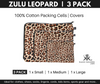 Zulu Leopard Leopard Print cotton covers. Packing Cells. 3 Pack.