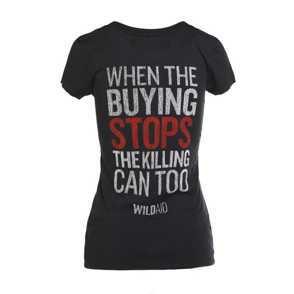 """NO"" Women's Scoop Neck Tee (Charcoal)"