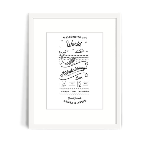 Whale Baby Birth Print