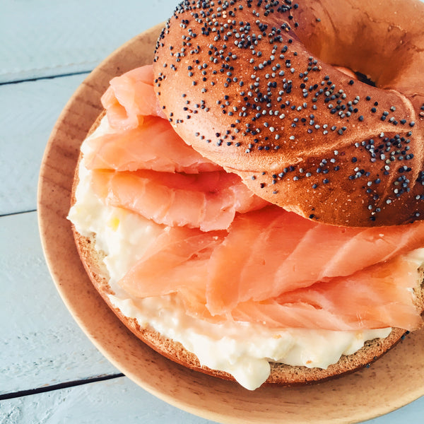 Bagel with woo garden jam and cream cheese