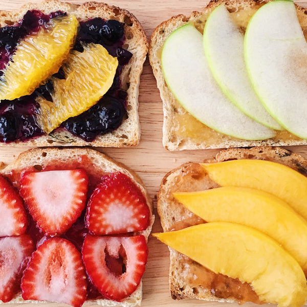 Assorted toast with Woo Garden jams, Dusk, Bloom, Dawn, and Fresh