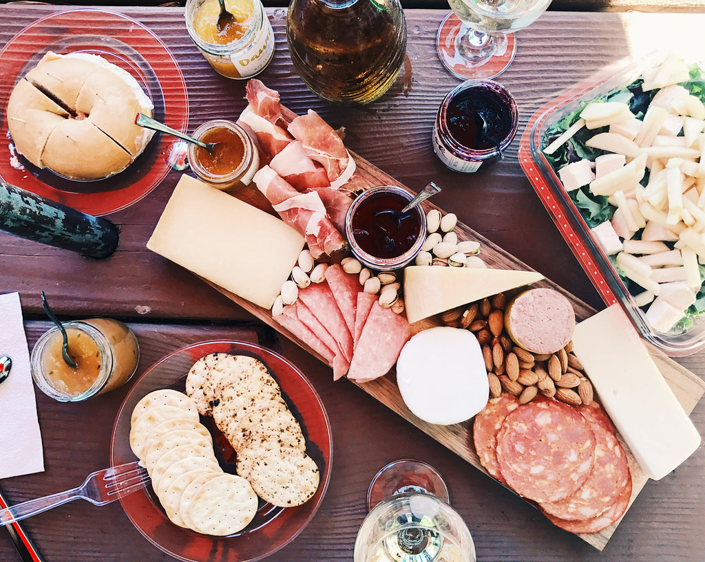 Cheeseboard with cured meat, cheeses, and woo garden's handcrafted, artisan jams