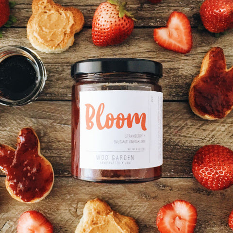 Woo garden handcrafted strawberry and balsamic vinegar jam, bloom.