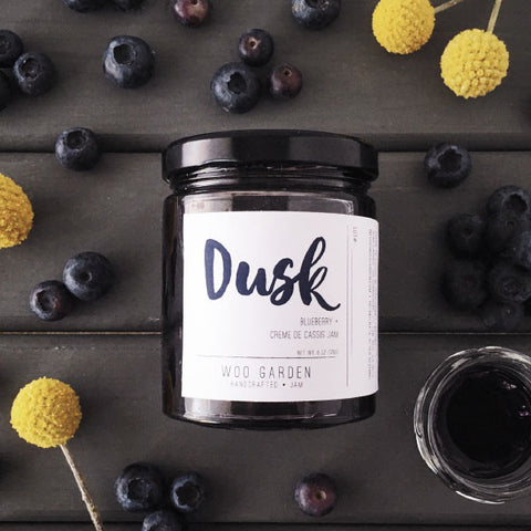 Woo garden handcrafted blueberry and creme de cassis jam, dusk.