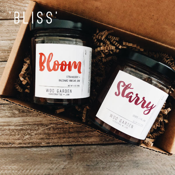 Our 'BLISS' DUO jam gift set contains BLOOM and STARRY.