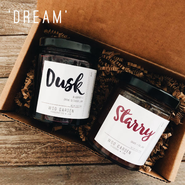 Our 'DREAM' DUO jam gift set contains DUSK and STARRY.