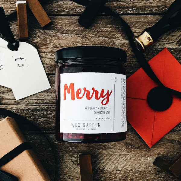 Woo garden handcrafted raspberry, cherry, and chambord jam, merry.