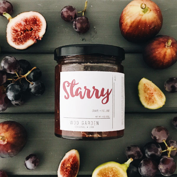 Woo garden handcrafted grape and fig jam, starry.