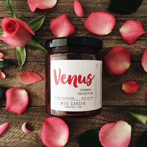 Woo garden handcrafted strawberry and rosewater jam, venus.