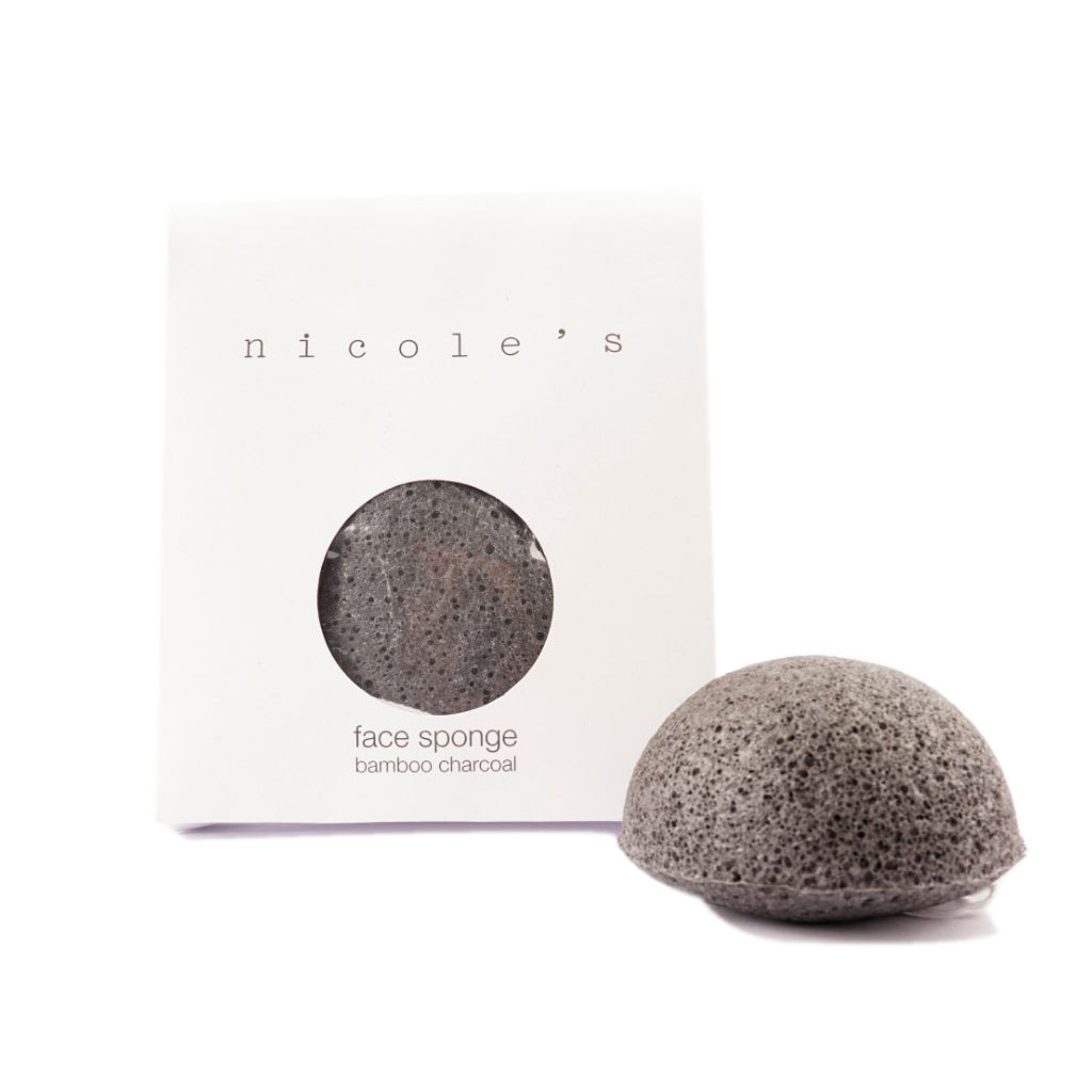 NICOLE'S NATURAL Charcoal Face Sponge Half Ball
