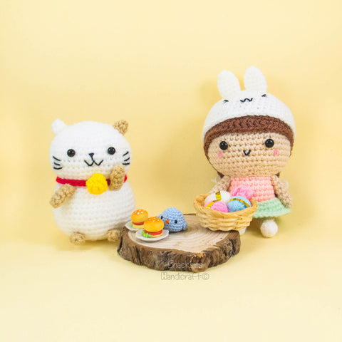 Lucky Cat and Girl with Bunny Hat Amigurumi