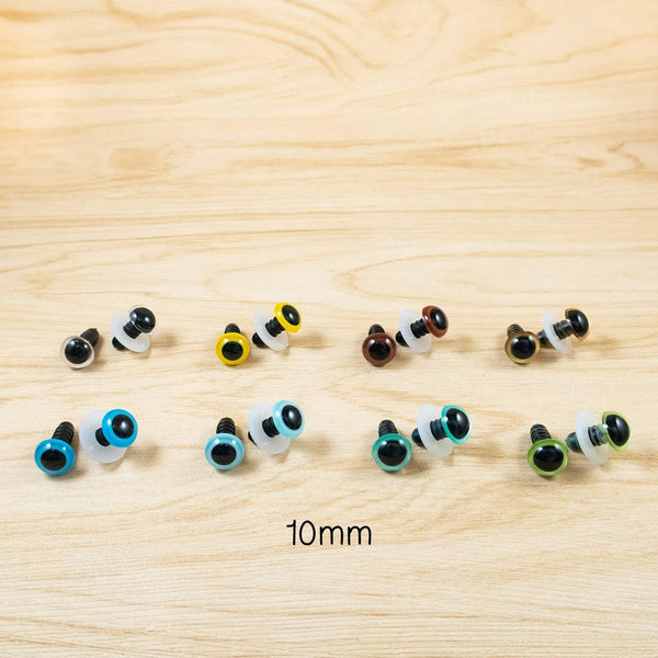 10mm safety eyes in clear, yellow, blue, green, gold, brown
