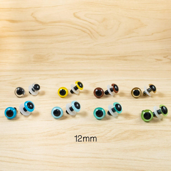 12mm color safety eyes for stuffed animals - clear, yellow, green. blue. gold, brown