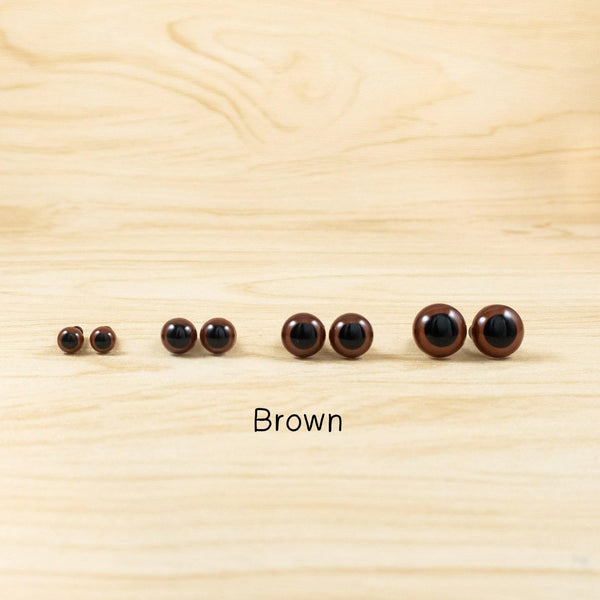 Brown Safety Eyes for teddy bears - 6mm, 8mm, 10mm, 12mm