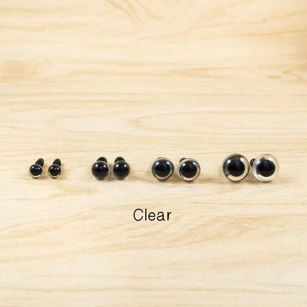 Clear Safety eyes for amigurumi plush - 6mm, 8mm, 10mm, 12mm