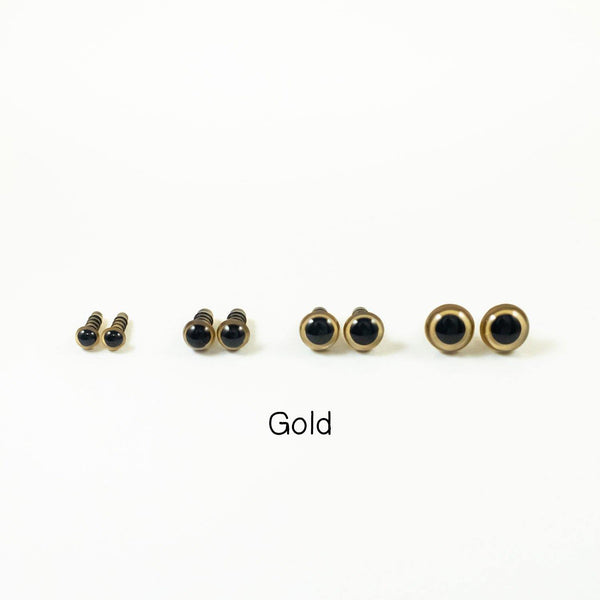 Gold safety eyes for plush toys - 6mm, 8mm, 10mm, 12mm