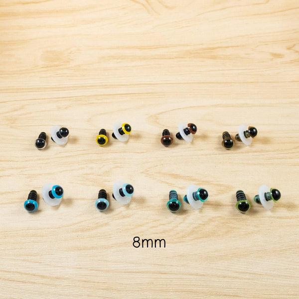8mm Colour safety eyes for Crochet dolls - Clear, Yellow, Brown, Gold, Blue, Green