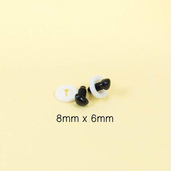 8mm x 6mm black triangle safety noses for amigurumi and handmade stuffed animals