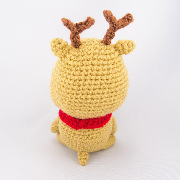 Handmade Reindeer Crochet Toy Back View