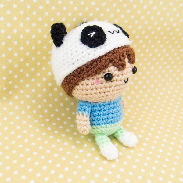 Boy with Panda Hat Amigurumi Doll Pattern