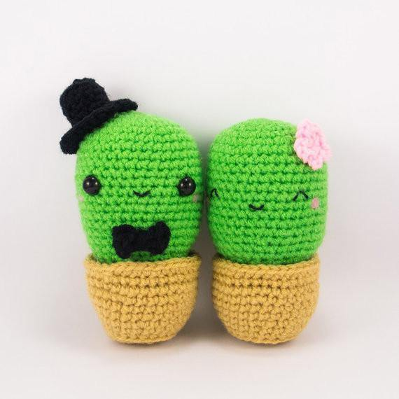 Cactus Couple Crochet Pattern Front View